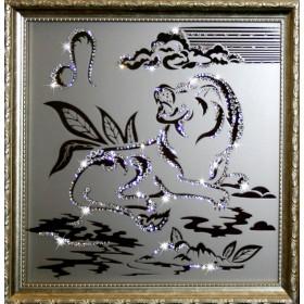 "Картина с кристаллами Swarovski ""Лев 35х35 см"""