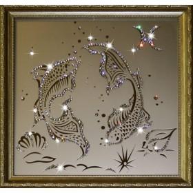 "Картина с кристаллами Swarovski ""Рыбы 35х35 см"""