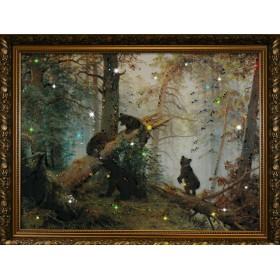 """Картина с кристаллами Swarovski """"Утро в сосновом бору"""""""