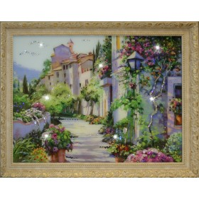 """Картина с кристаллами Swarovski """"Цветущий город (Большой)"""""""