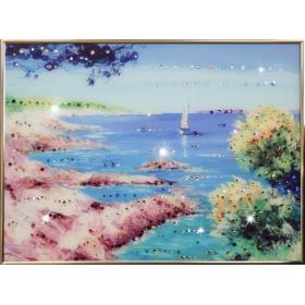 """Картина с кристаллами Swarovski """"Морской пейзаж"""""""