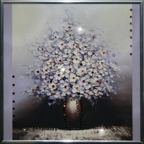 "Картина с кристаллами Swarovski ""Белая сирень"""