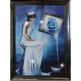 """Картина с кристаллами Swarovski """"Морская Дама"""""""