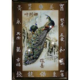 "Картина с кристаллами Swarovski ""Павлины фен-шуй"""
