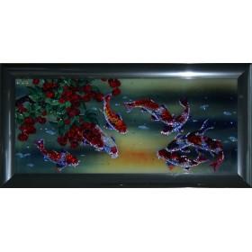 """Картина с кристаллами Swarovski """"Рыбы Тай"""""""