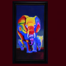 """Картина с кристаллами Swarovski """"Слоны"""""""