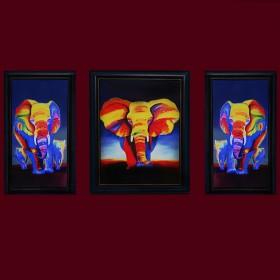 """Картина с кристаллами Swarovski """"Слоны Триплекс"""""""