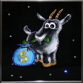 """Картина с кристаллами Swarovski """"Новогодний сюрприз"""""""