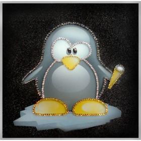 """Картина с кристаллами Сваровски """"Пингвиненок Лоло"""""""