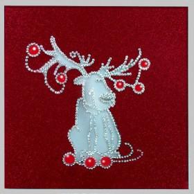 """Картина с кристаллами Swarovski """"Рождественский олень"""""""