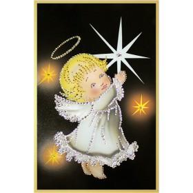 """Картина с кристаллами Сваровски """"Звездный ангелочек"""""""