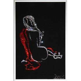 "Картина с кристаллами Swarovski ""Женский силуэт -Цвет любви"""